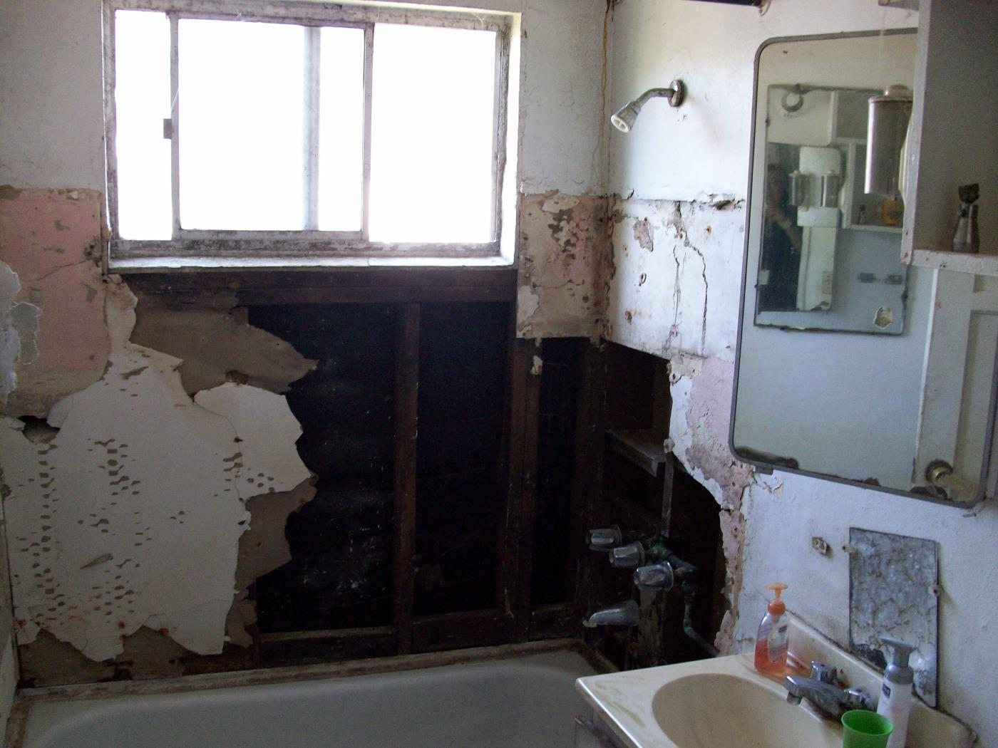 Before: Lead in walls in bathroom