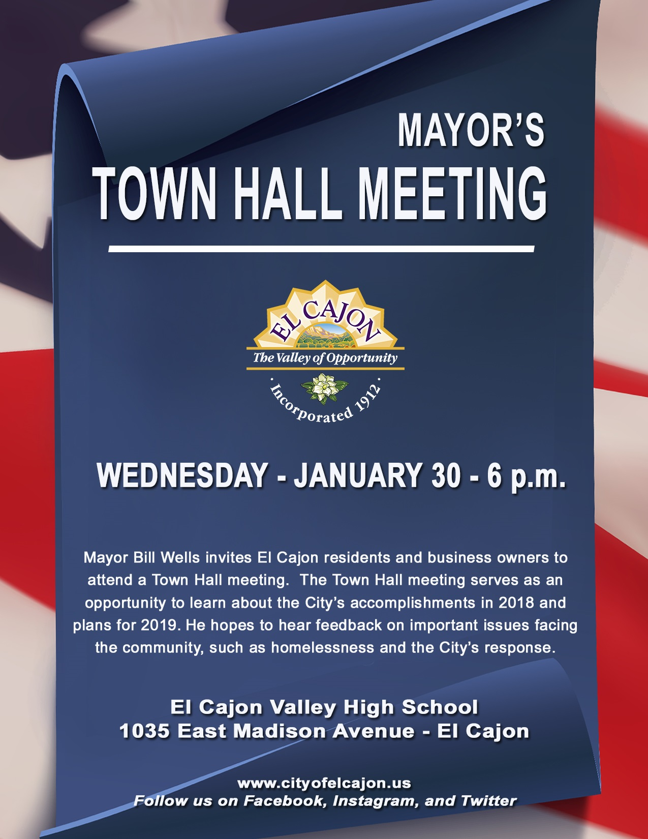 Mayor's Town Hall Meeting is January 30th at 6 p.m.