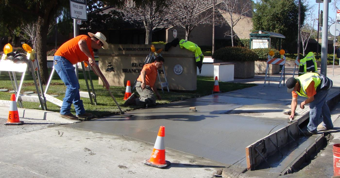 maintenance operations, sidewalk repair, wet cement